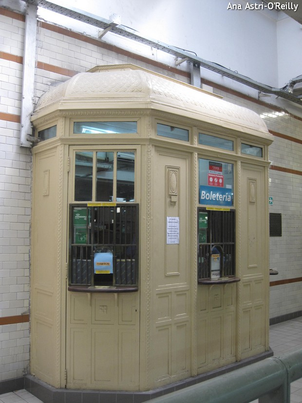 Old school ticket booth at Plaza de Mayo Station.